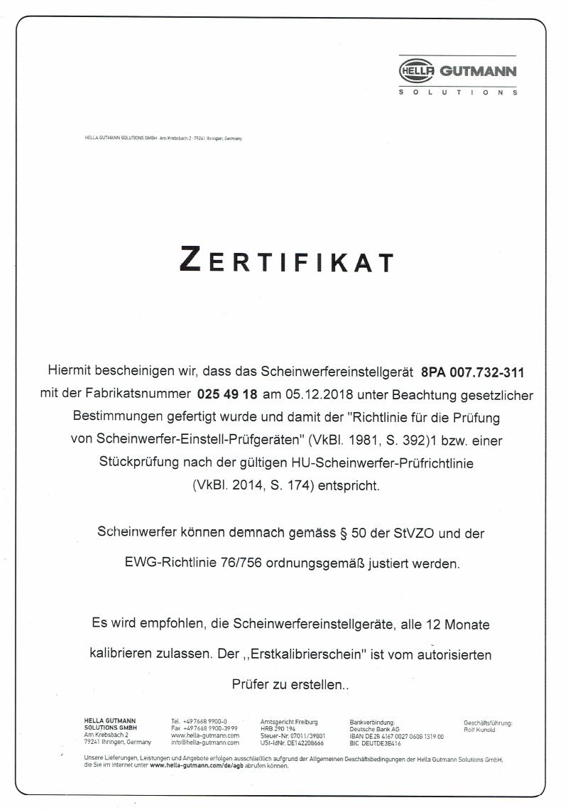 Zertifikat Scheibenkurs